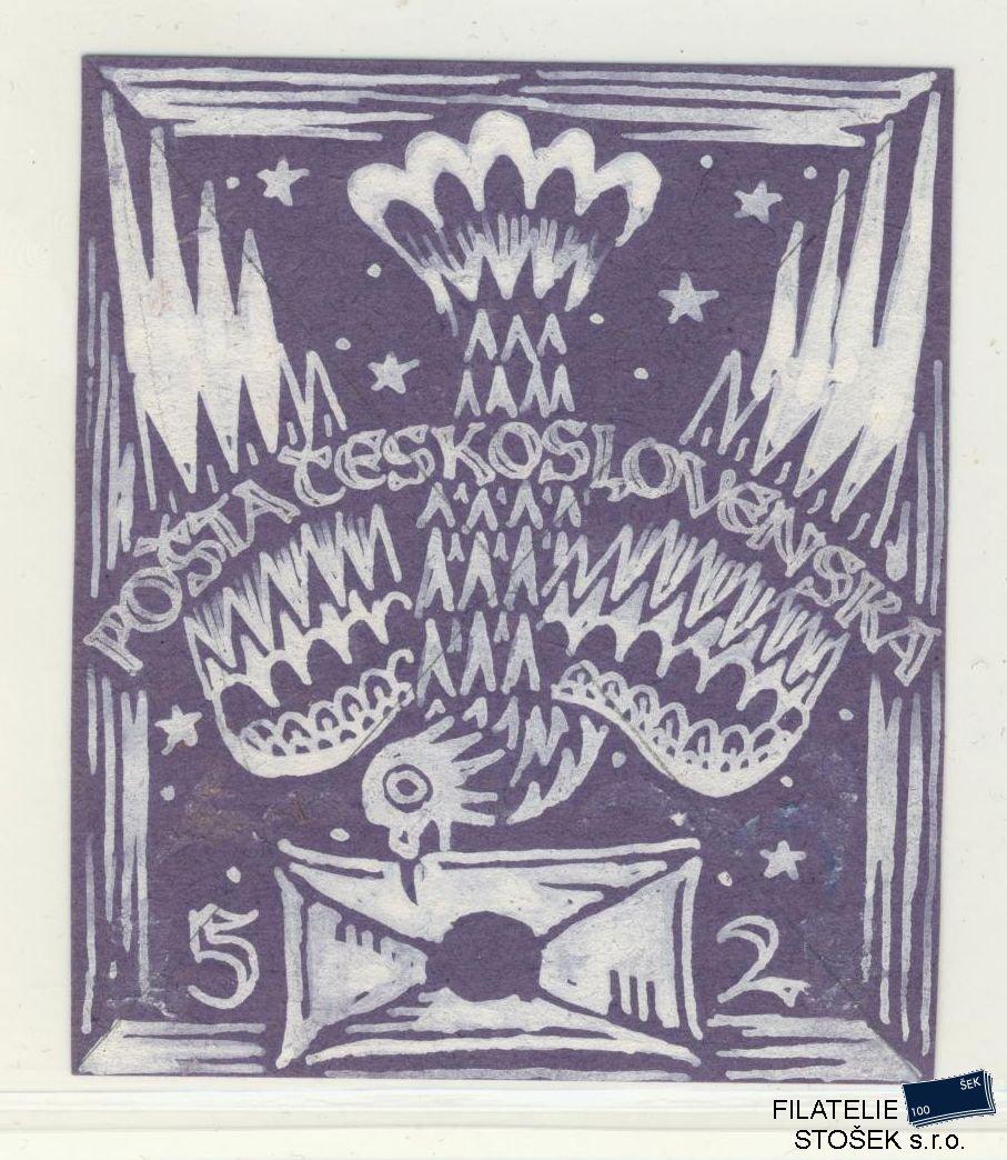 Csr I Znamky Zt Kresba Navrhu Belobou 66 X 78 Mm Filatelie Stosek